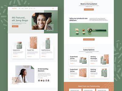 Jang Bogo eCommerce Website styleguide vegan products organic supplements ui branding ux ui design