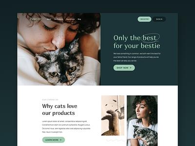 Pawyer Cat Products pet care pets cat food ecommerce design ecommerce cat ui branding ui design