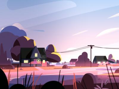 Neighborhood sky house environment illustration