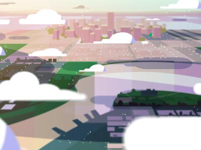 Cityscape lighting styleframe animation birds eye view clouds sky