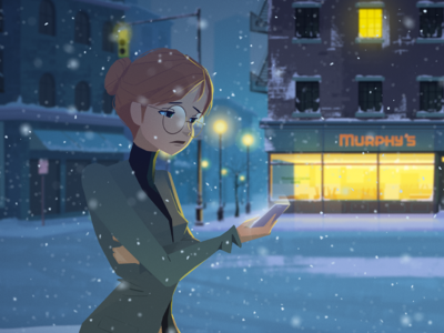Christmas Card Illustration 2 - Flight Canceled