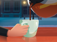 Christmas Card Illustration 3 - Coffee Pour