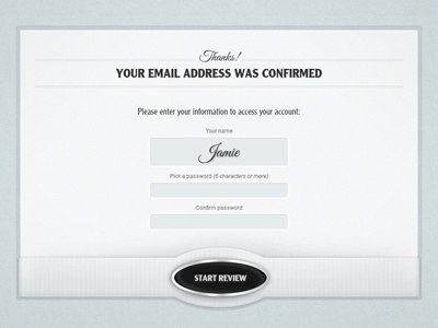 Yoledo Annual Review - confirmation page login signup welcome confirmation screen start button form password name website web app blue texture