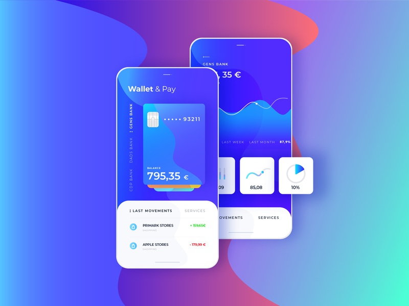 Wallet & Pay Ui / Ux Project financial app analytics dashboard analytics chart analytics credit cards dailyui ux ui app
