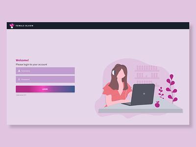 Login page for Desktop Female App desktop login pink login female application login desktop app