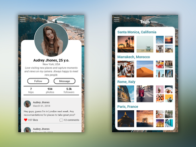 Mobile App - Profile & Trips Page travel android login app mobile