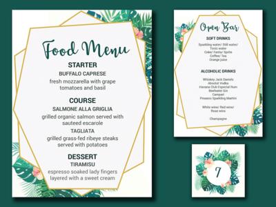 Wedding Menus & Table Number Presentation design party botanical floral number table bar food menu wedding