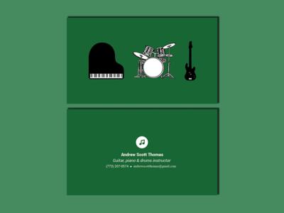 Business Card - Music instructor minimalist teacher piano drums bass guitar instructor music card business