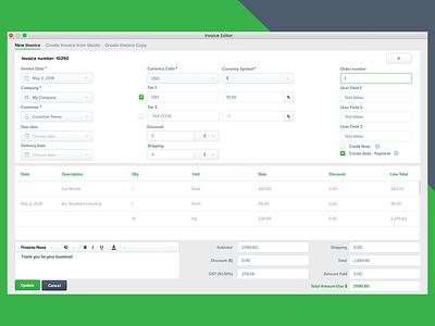 Invoice Light Theme - macOS modern macos invoice financial theme light app