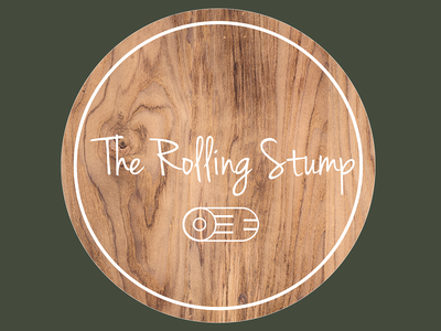 Logo Concept for wood crafts - The Rolling Stump crafting nature stump rolling craft wood concept logo