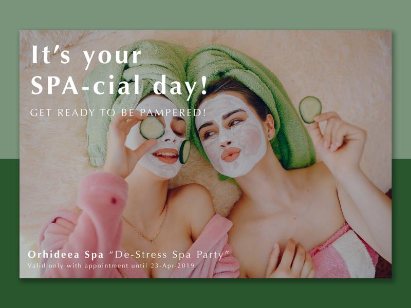 Spa Birthday Invitation present birthday voucher relaxing print design green invite concept invitation spa