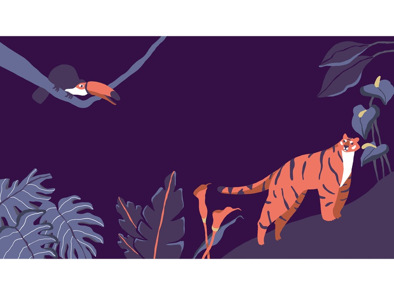 Jungle illustration leaves tropical event jungle 2d drawing cute animal design flat character character design illustration minimal