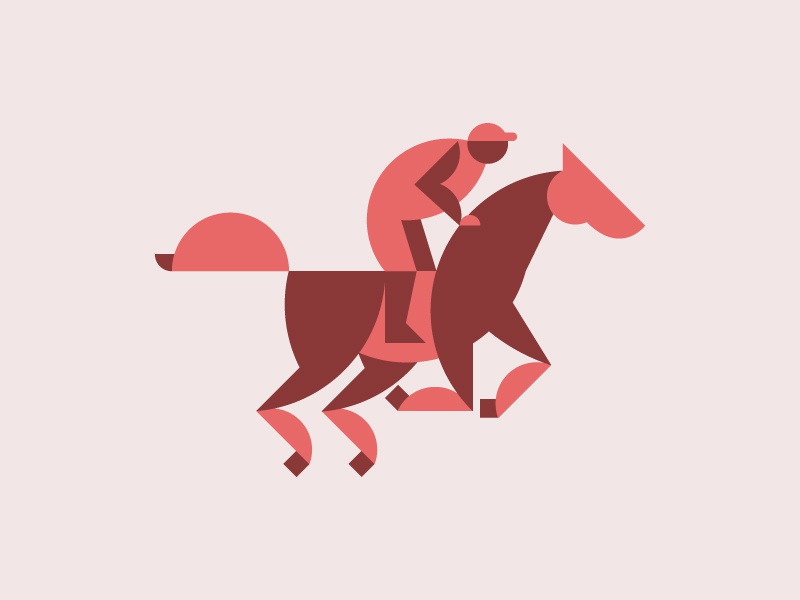 Horse Race flat jockey minimal animal illustration equestrian riding geometric icon mark sport race horse