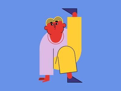 Gym Guy gymnastic gym shape pose geometric design character character design flat illustration minimal vector