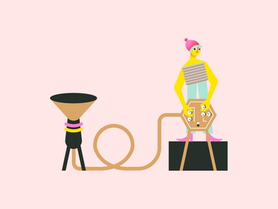 Musician #2 mascot illustrator alien music player music instrument electronic shape geometric drawing design character character design flat illustration minimal vector