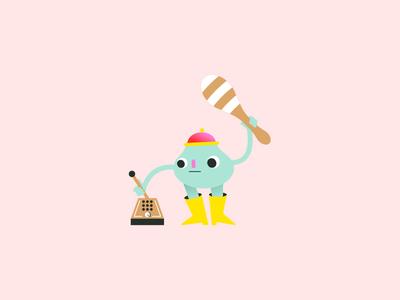 Musician #3 shape music player mascot illustrator drawing alien instrument electronic musician music geometric animal character character design flat illustration minimal vector