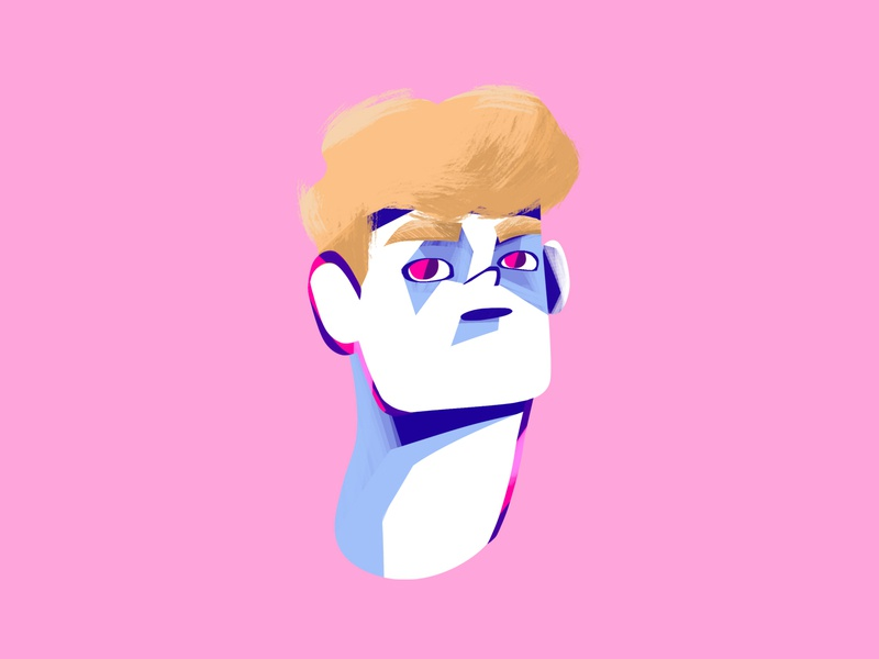 Painted portrait 3 bold colorful texture photoshop digital painting illustration drawing character design character guy boy portrait face