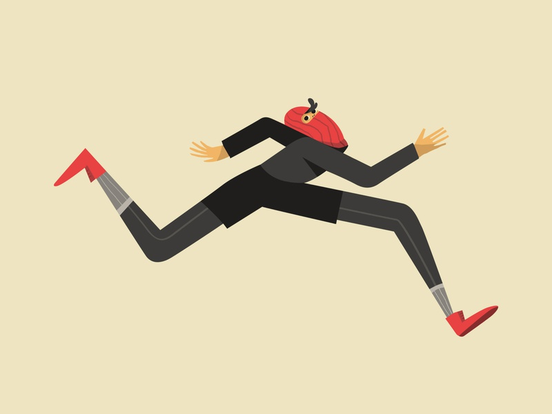 Running thief illustration drawing character design flat minimal running thief character