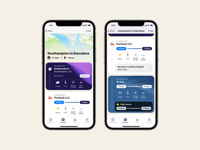 🛳 Itinerary App ship cruise ux app design app ui iphone icons design buttons icon