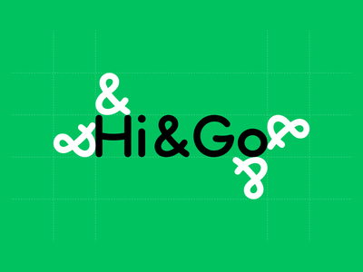 Hi&Go logotype smilling letters friendly family branding car rental hi and go green lettering wordmark custom type logotype design branding logo typography graphic design