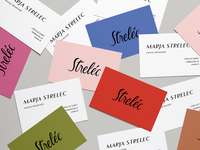 Strelec business cards minimal business card colors flat fashion brand graphic design branding design logo