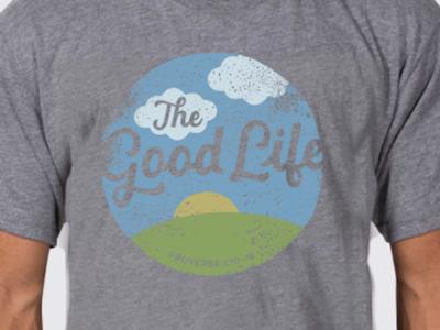 T Shirt Design icon vintage worn washed circle life goodd the good life