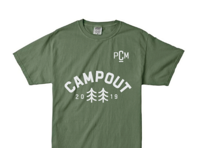 College Ministry Camping Tee retreat campout camp camping church group ministry college icon trees pine forest olive green tee tshirt shirt
