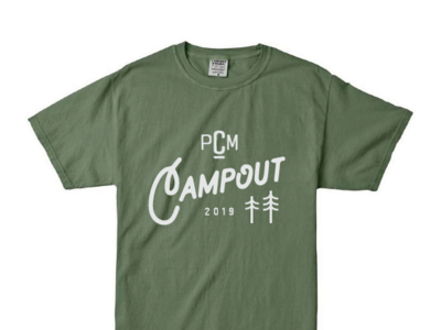 College Ministry Camping Tee minitry church college camp campout camping retreat icon trees pine forest green tee shirt tshirt