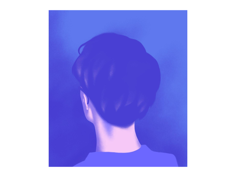 Self portrait poster digital illustration digital painting drawing portrait design illustration portrait art woman girl blue minimalistic minimal portrait