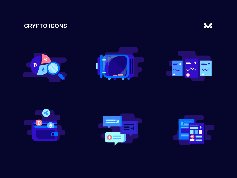 Crypto Icons Set maise ico news search chat wallet safe illustration flat icons cryptocurrency crypto