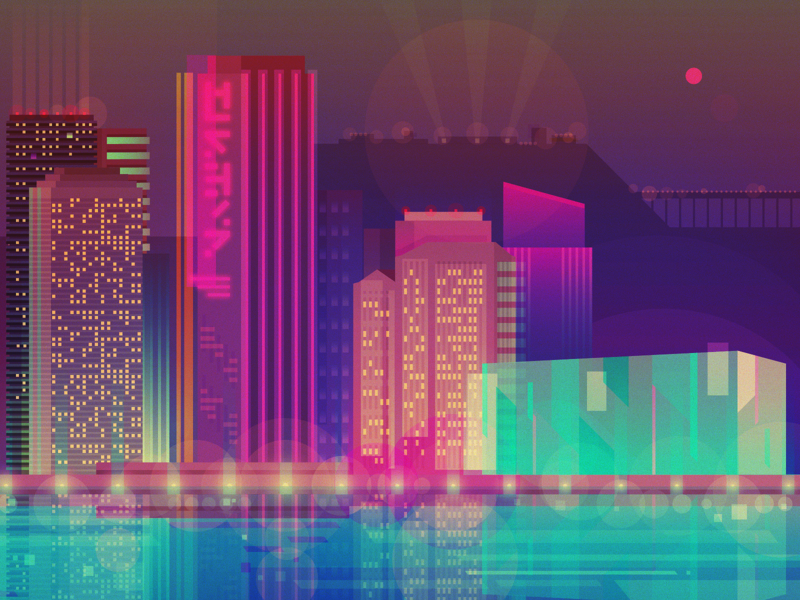 City by night 2d flat landscape view light neon colorful vector night illustration city
