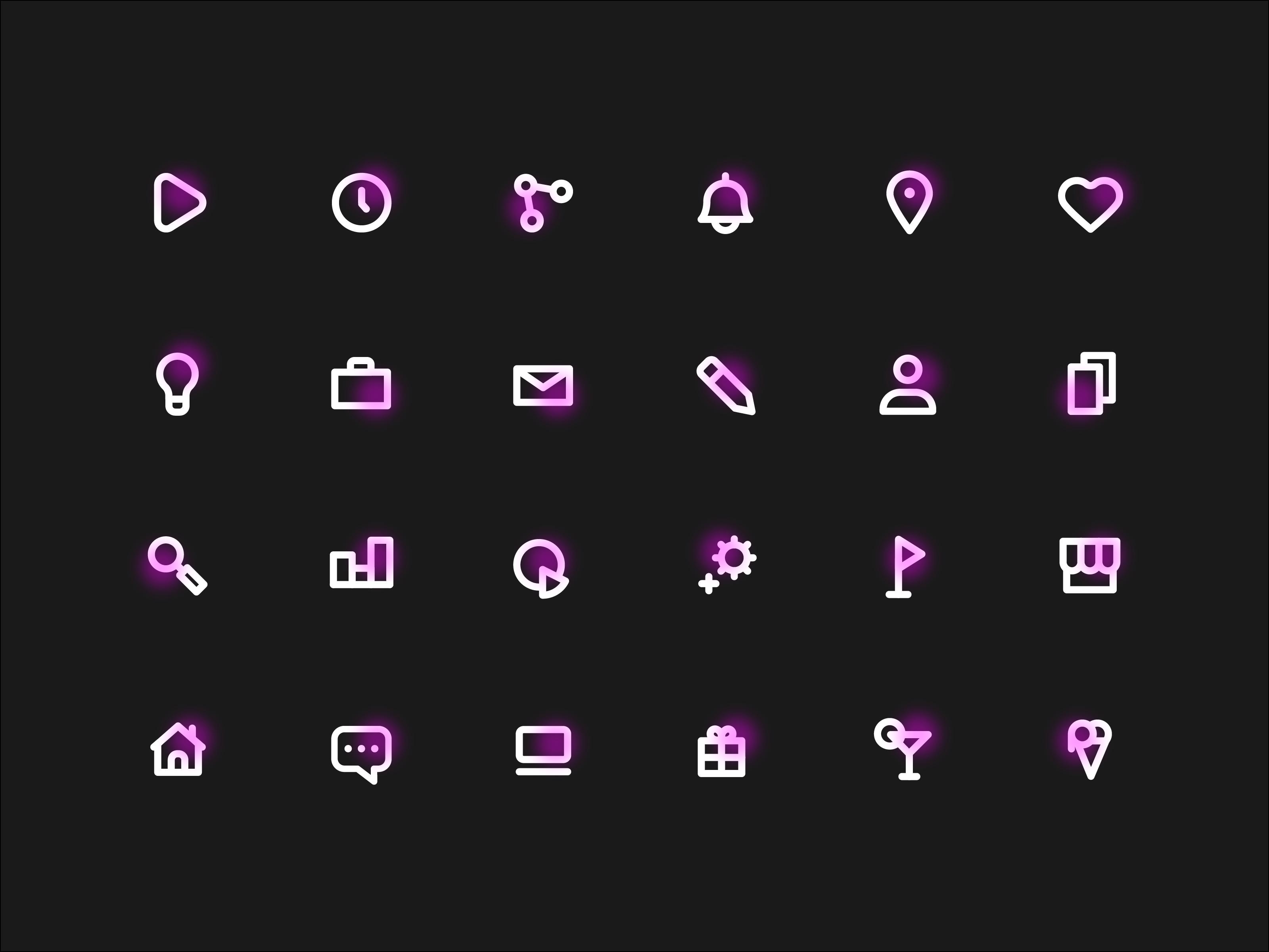 Neon icons black