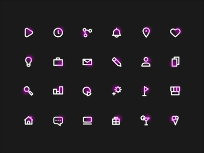 Neon Icons Freebie small office business minimalistic simple free icons icon set freebie icons neon