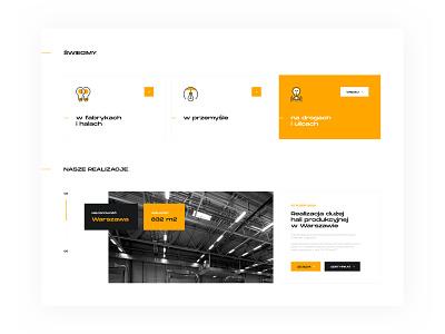 Page for lighting distributor - Home Page (module) landing orange light minimal apps app typography branding web ux webdesign ui design