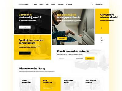 Page for toner distributor (Home Page) black yellow landing page landingpage toner print website flat brand typography branding web ux webdesign ui design