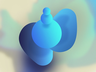 Varde floating faux 3d shadow experiment blue gradient