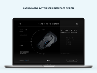 Cardo Moto System User interface design