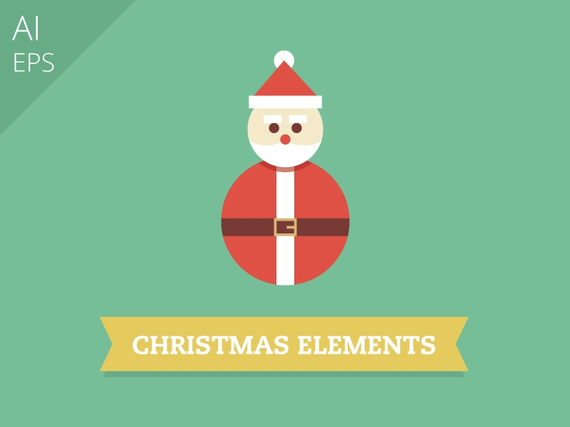 Christmas Elements design illustration holidays graphic freebie print package candy cane christmas santa claus flat vector