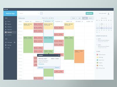Medical Calendar appointment product design calendar schedule web app health icons ui interface sketchapp app design