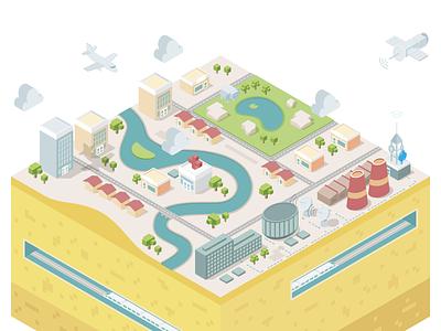 City Map enterprise river water park buildings vector city illustration industries health cartodb isometric