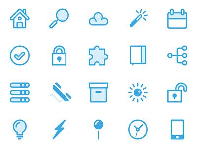 Blue Line Icons line blue clock box phone book check calendar cloud search home icon