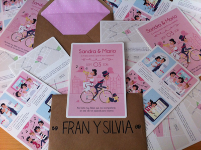 Wedding Invitation vector print pink illustration design character cartoon blue bike card invitation wedding