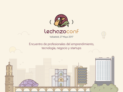 Lechazoconf Illustration website homepage vector conference bridge city flat line buildings landscape meetup illustration