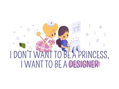 Women Day frog illustration princess tech day women designer