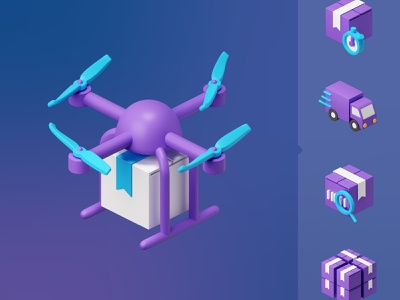 Warehouse & Delivery 3D assets warehouse barcode box untact contactless truck onboardring shipping parcel delivery drone 3d illustration icons set icon icons