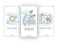 Onboarding colored outline illustrations