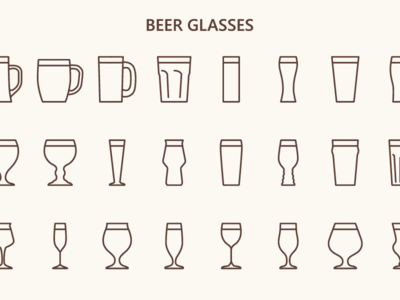 Beer glasses (outline icons)