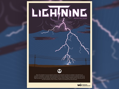 Lightning Weather Poster kapow thunder illustration purple electricity electric storm lightning wpa poster weather underground weather