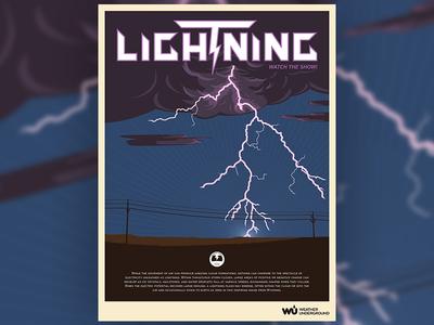 Lightning Weather Poster kapow thunder illustration purple electricity electric storm lightning wpa poster weather underground weather