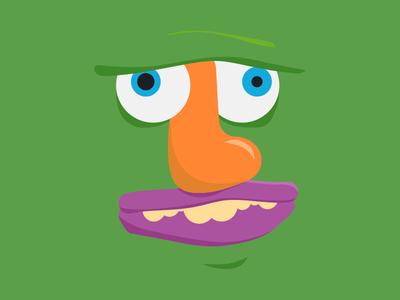 Skateface Green deck skateboard green eyes googly teeth face